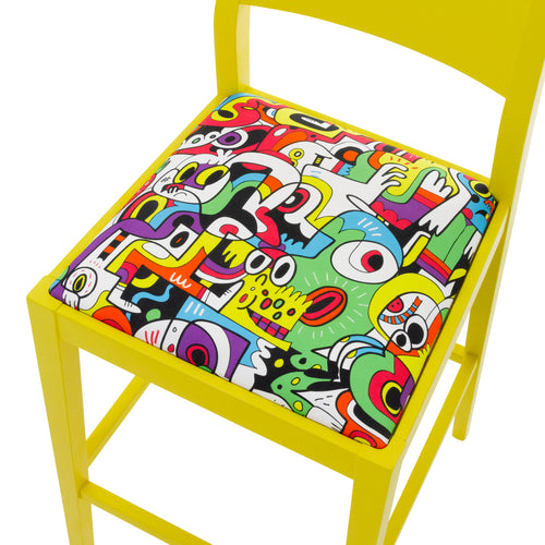 James Shaker Style Bar Stool Upholstered in Sunshine Yellow Frooty Tooty