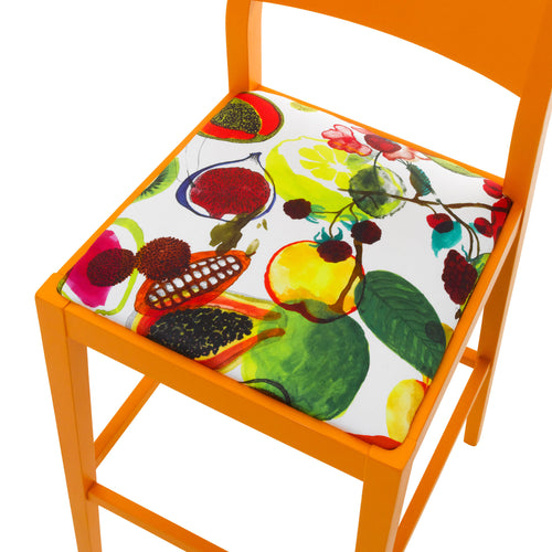 Seat view of the James barista bar stool upholstered in Christian Lacroix finished in Marigold Eggshell.