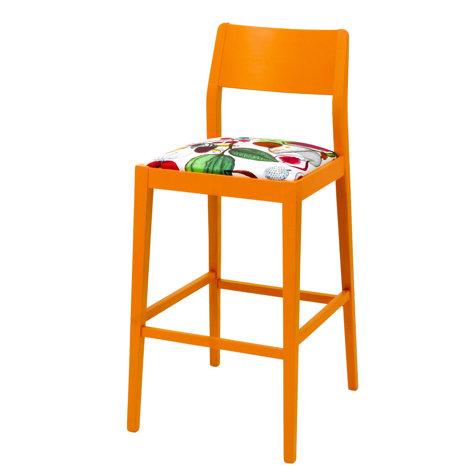 The James barista bar stool upholstered in Christian Lacroix finished in Marigold Eggshell.