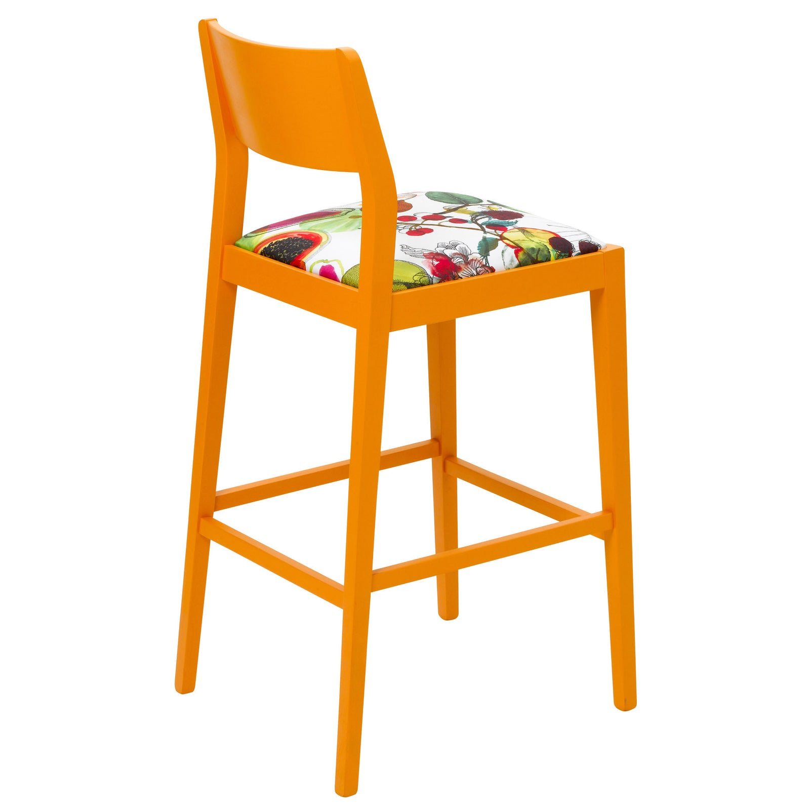 Rear view of the James barista bar stool upholstered in Christian Lacroix finished in Marigold Eggshell.
