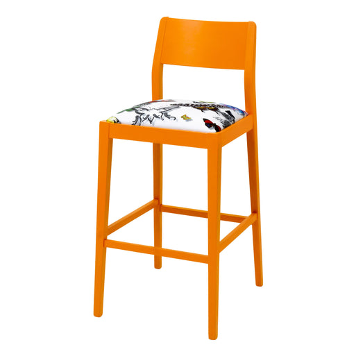 James Barista Bar stool with Christian Lacroix Fabric finished in Marigold eggshell.