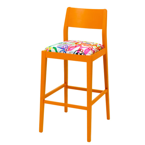 James designer barista bar stool upholstered in Rainbow Scrawl by Jon Burgerman finished in Marigold Eggshell.