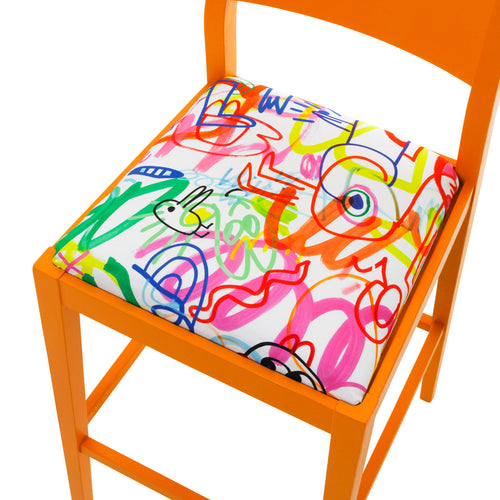 Seat view of the James designer barista bar stool upholstered in Rainbow Scrawl by Jon Burgerman finished in Marigold Eggshell.