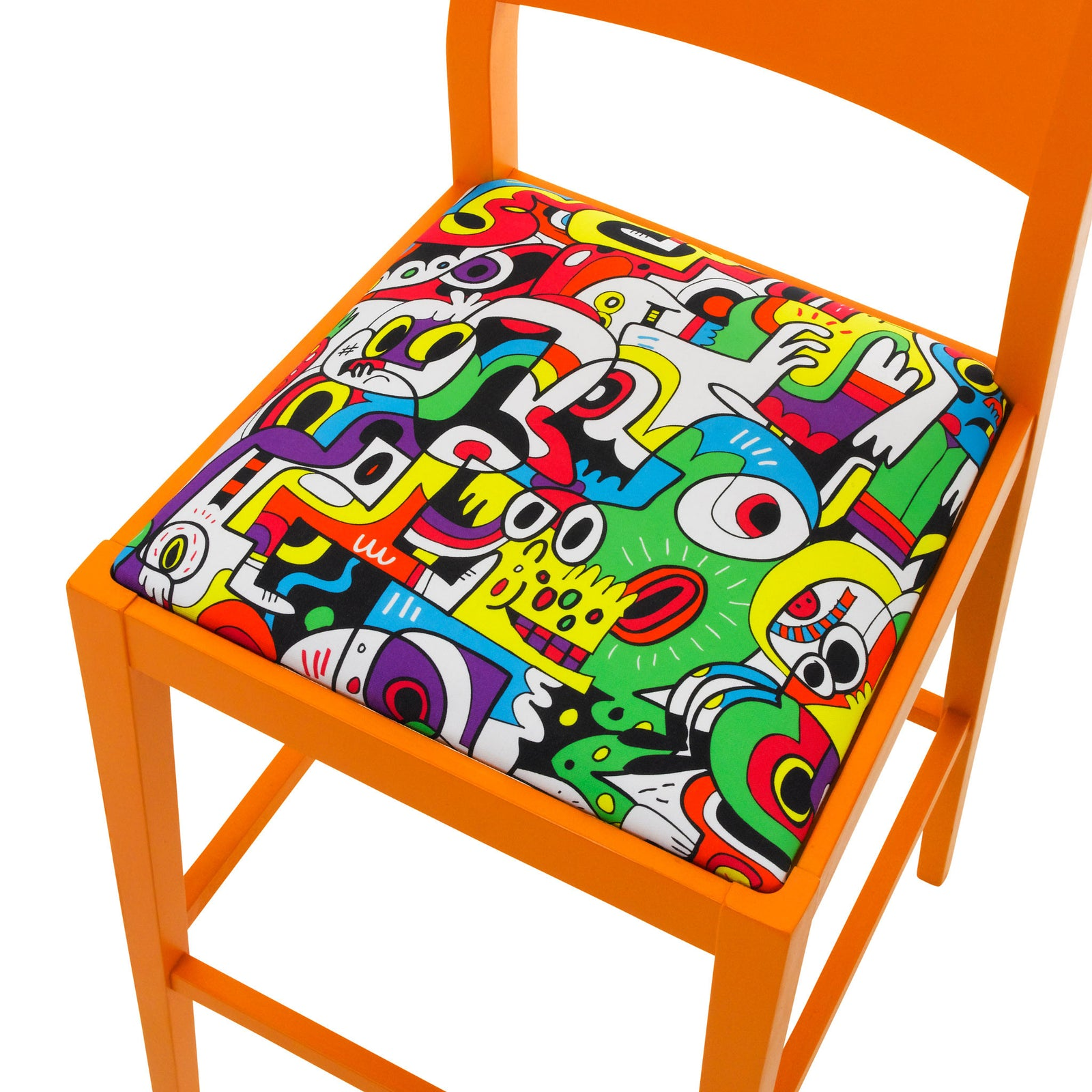 James Barista Bar stool upholstered in Frooty Tooty Tropical Fabric finished in Marigold Orange.