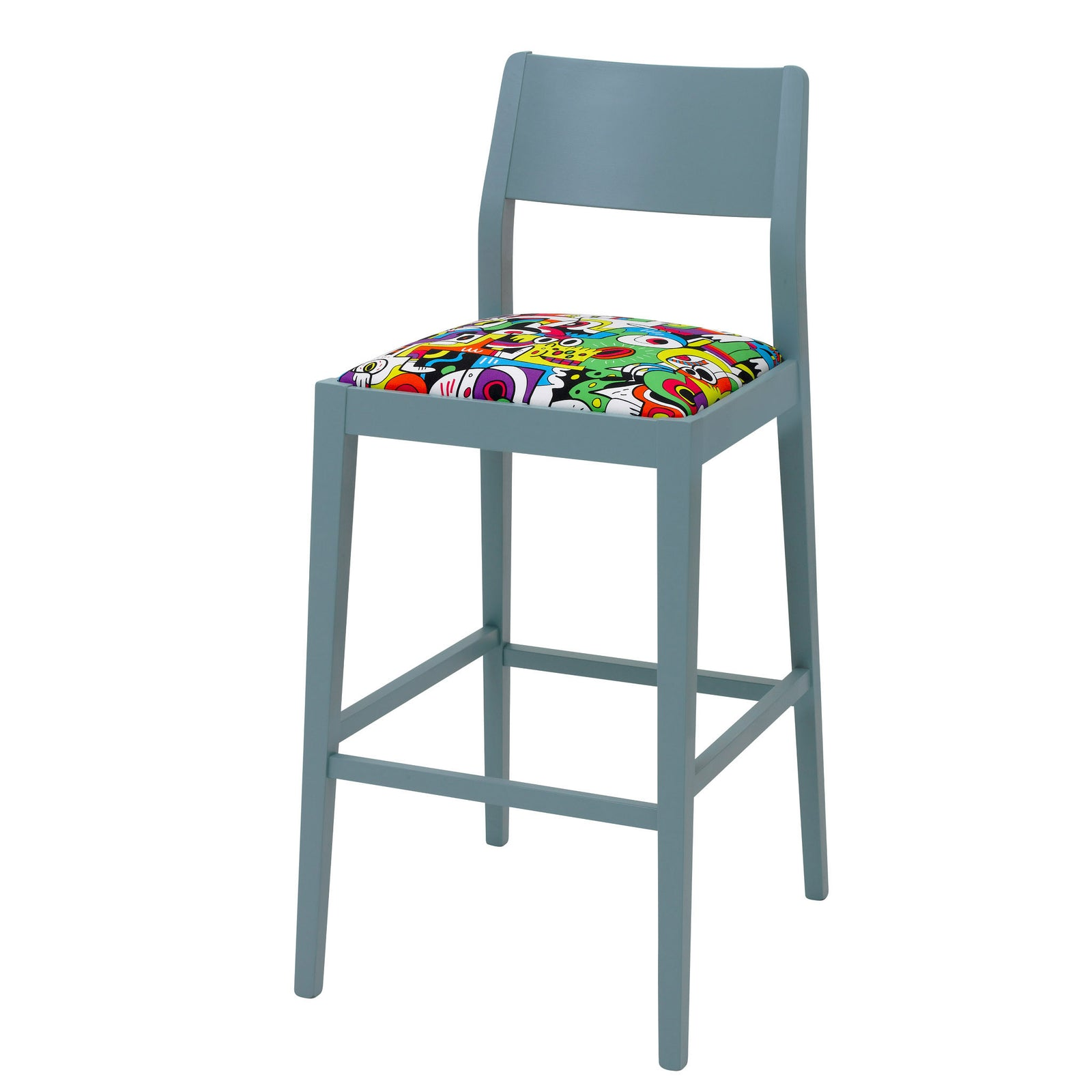 James Barista Bar Stool with Frooty Tooty Tropical Fabric.