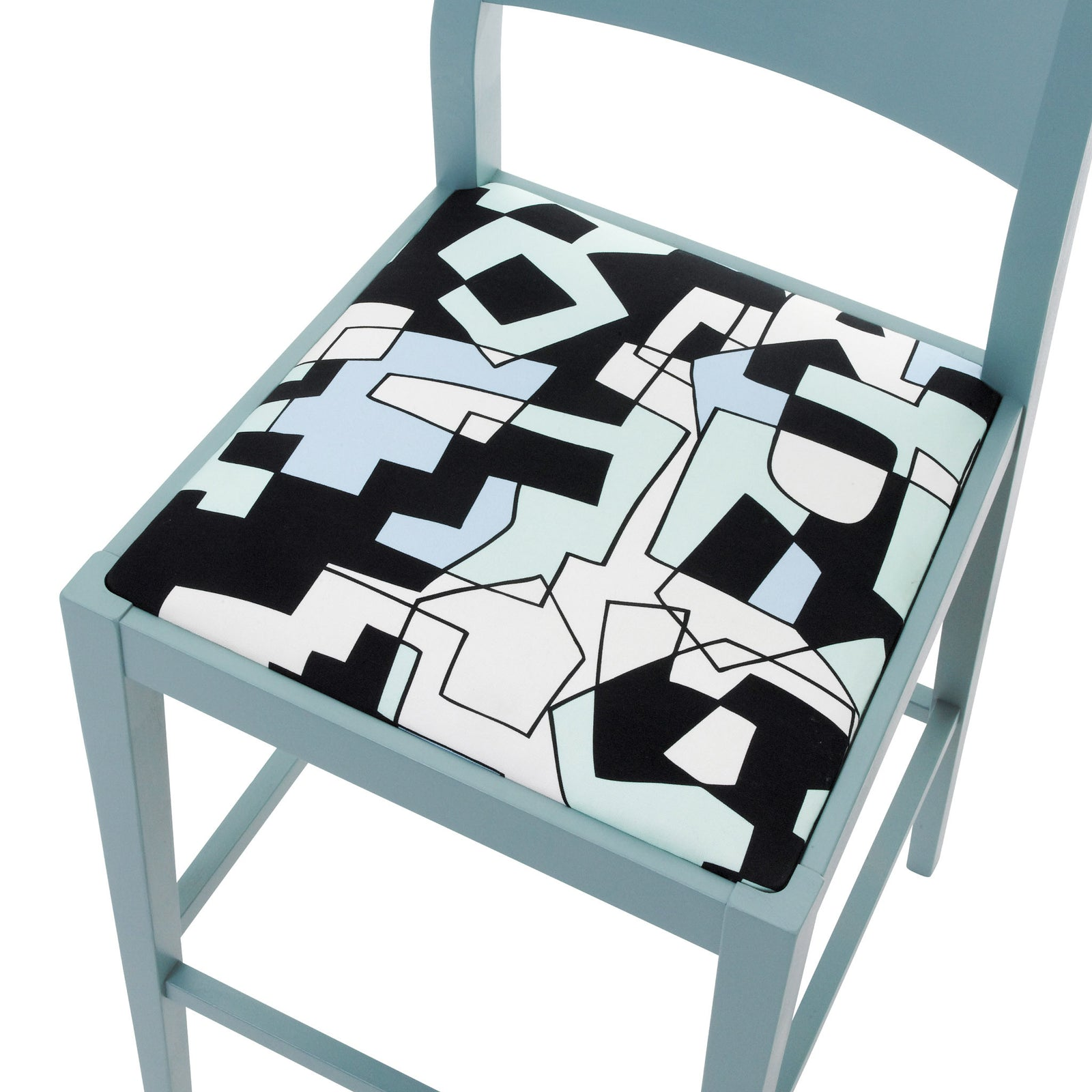 Jon Burerman Doodle fabric on a James Barstool painted in Room Blue eggshell.