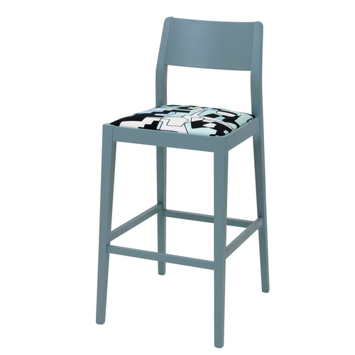 The James Bar Stool upholstered in Doodle fabric by Jon Burgerman finished in Room Blue Eggshell.