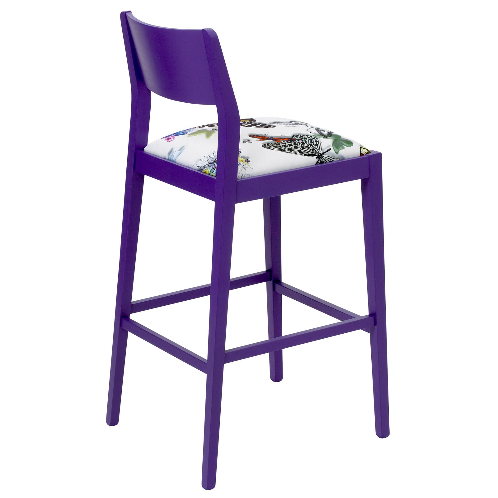 James Luxury Bar Stool Upholstered in Purple Butterfly Parade House of Lacroix