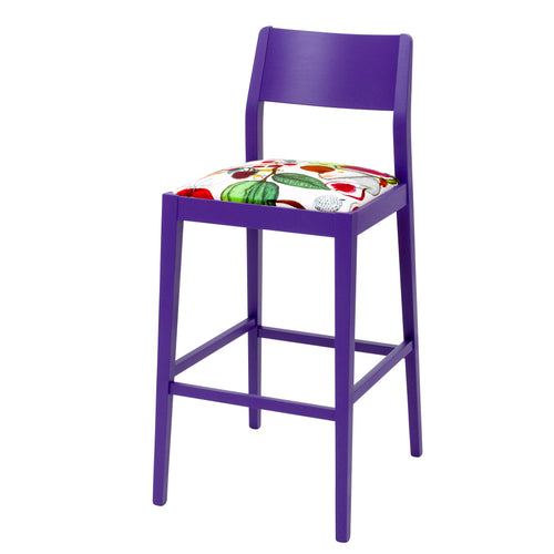 Designer Barstool Upholstered in Christian Lacroix Manaos Perroquet finished in Purple