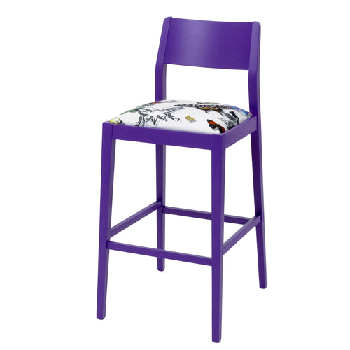 Designer Barstool Upholstered in Christian Lacroix Butterfly Parade finished in Purple
