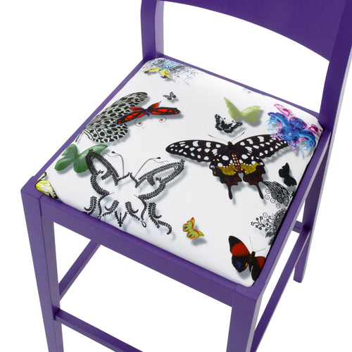 James Shaker Style Bar Stool Upholstered in Purple Butterfly Parade House of Lacroix