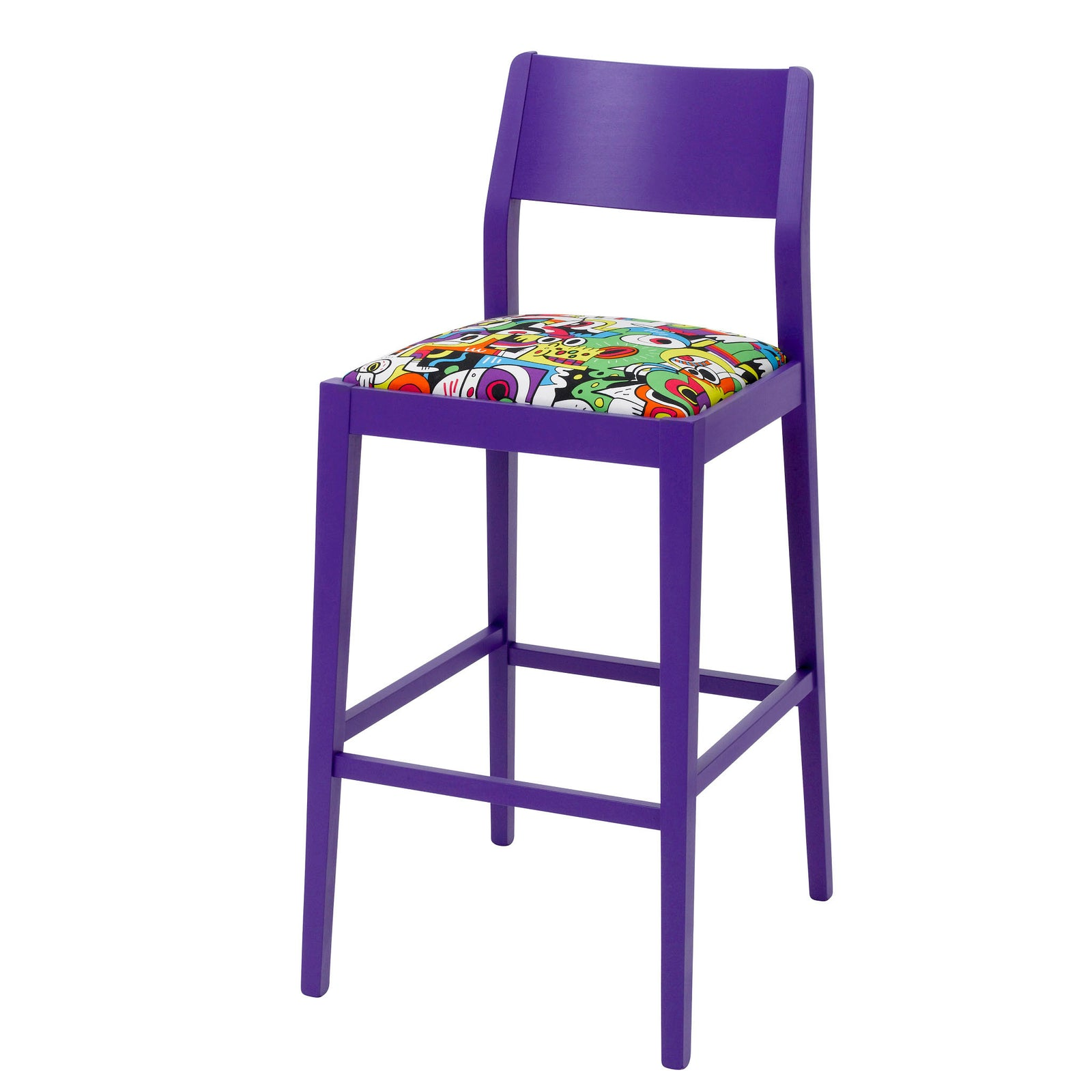 The James Bar Stool upholstered in Frooty Tooty Fabric finished in Purple.