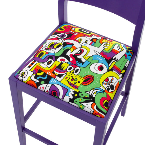 Jon Burgerman Tooty Frooty Fabric on a James Bar stool finished in Purple.