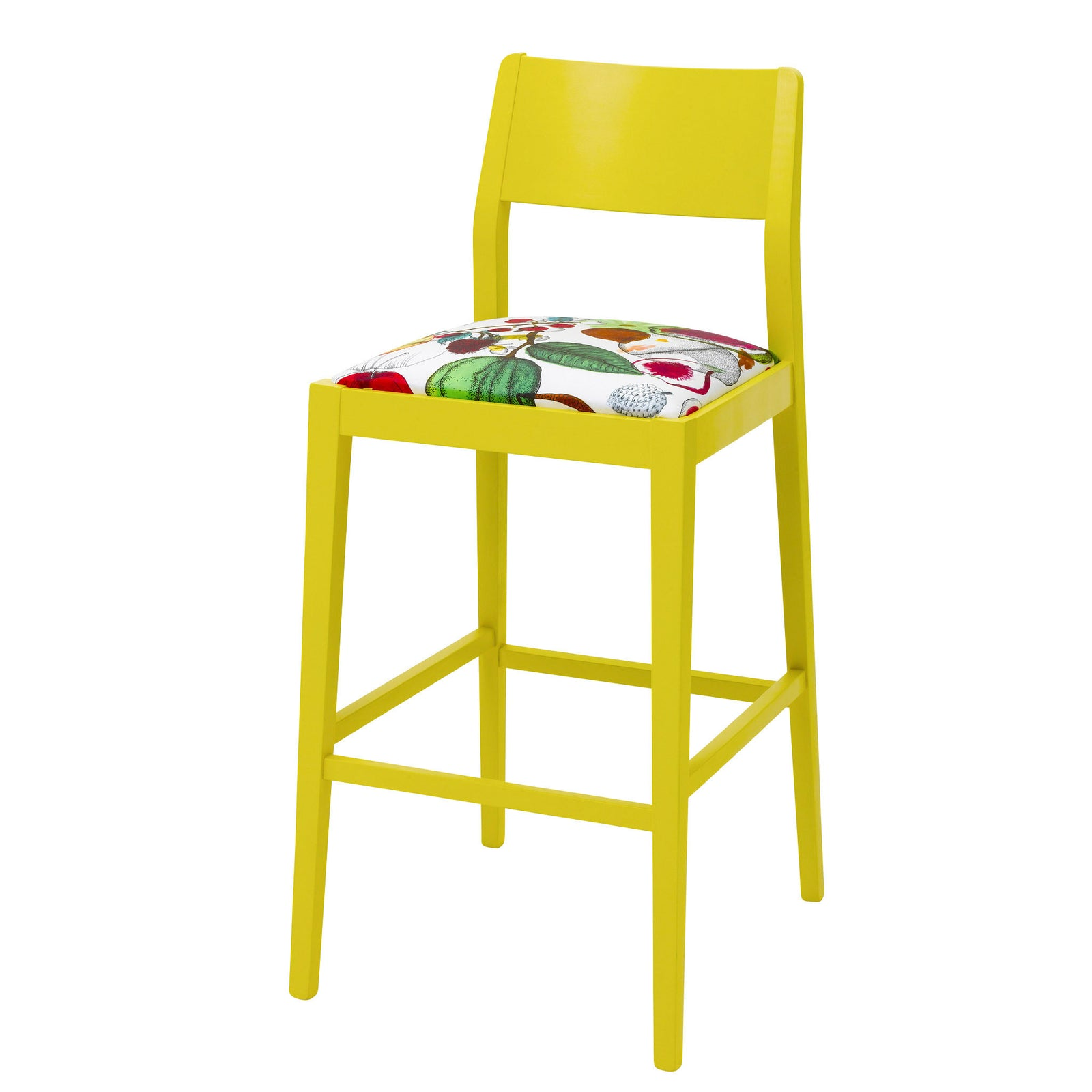 The James design bar stool upholstered in Christian Lacroix print finished in Yellow.