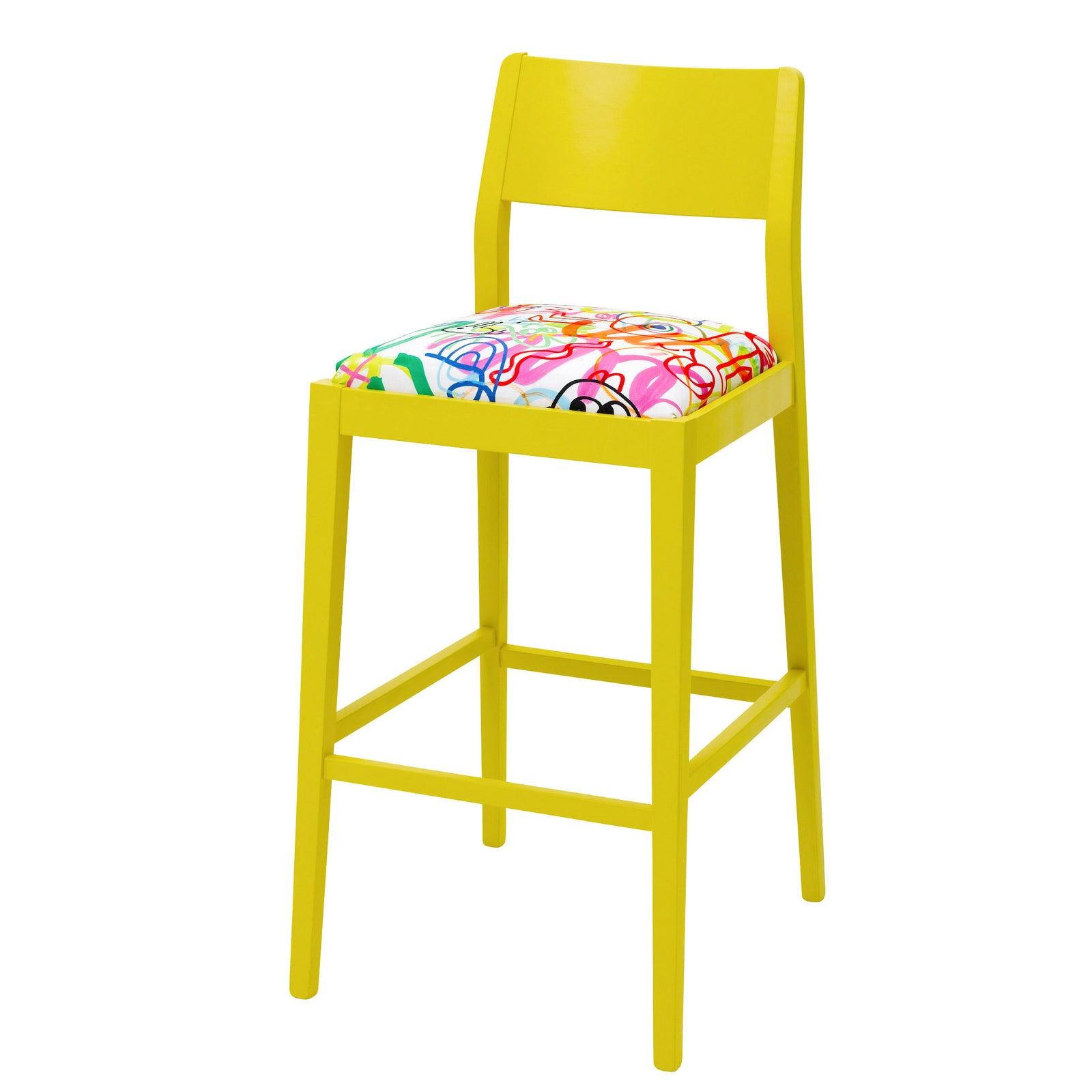 Sunny yellow Shaker bar stool upholstered in the comic Ranbow Scrawl by Jon Burgerman