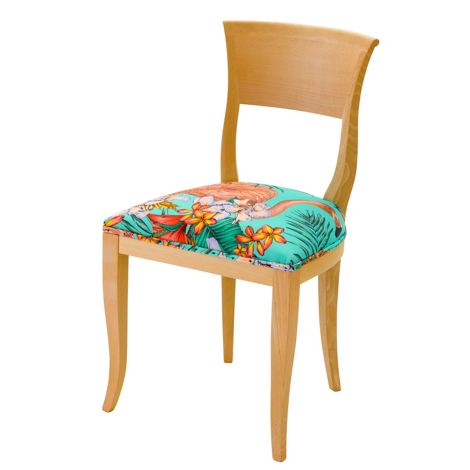 Designer dining chair with a natural wood finish and upholstered in a colourful flamingo print by Matthew Williamson