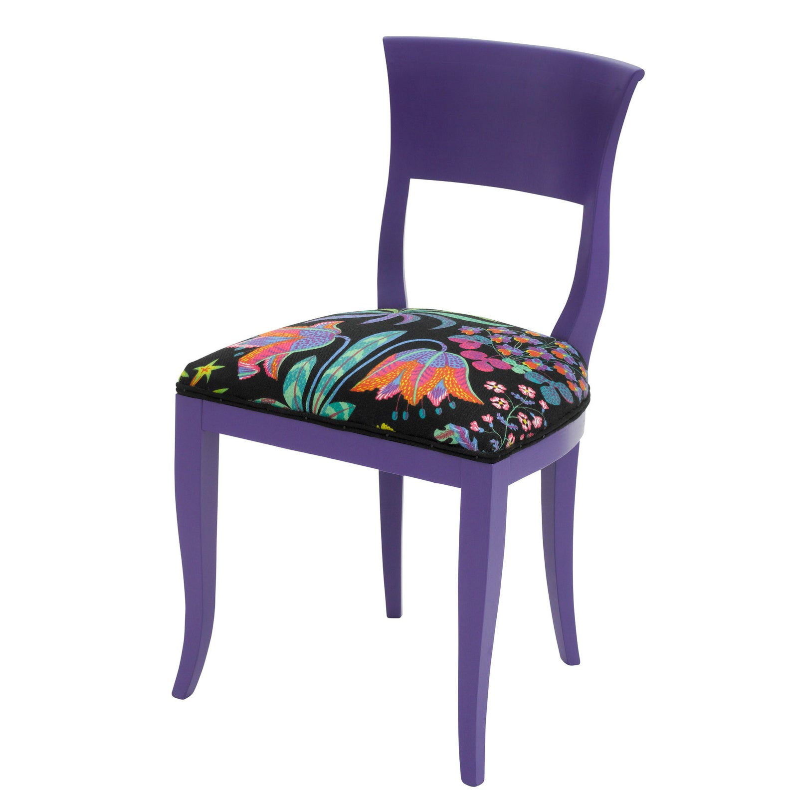 The Kate designer dining chair upholstered in Josef Frank's Under Ekvatorn print and finished in purple heart egg shell.