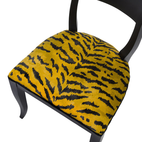 Seat view of the Kate art deco dining chair upholstered in Tiger print fabric from House of Hackney  finished in Matte Black.
