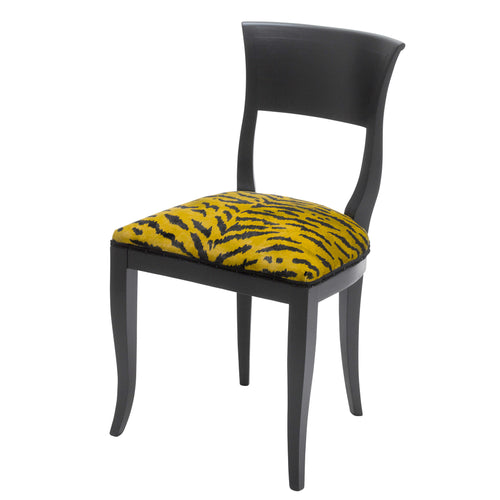 Kate art deco dining chair upholstered in Tiger print fabric from House of Hackney  finished in Matte Black.