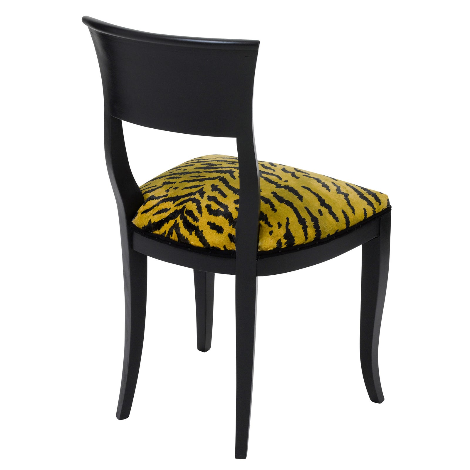 Rear  view of the Kate art deco dining chair upholstered in Tiger print fabric from House of Hackney  finished in Matte Black.