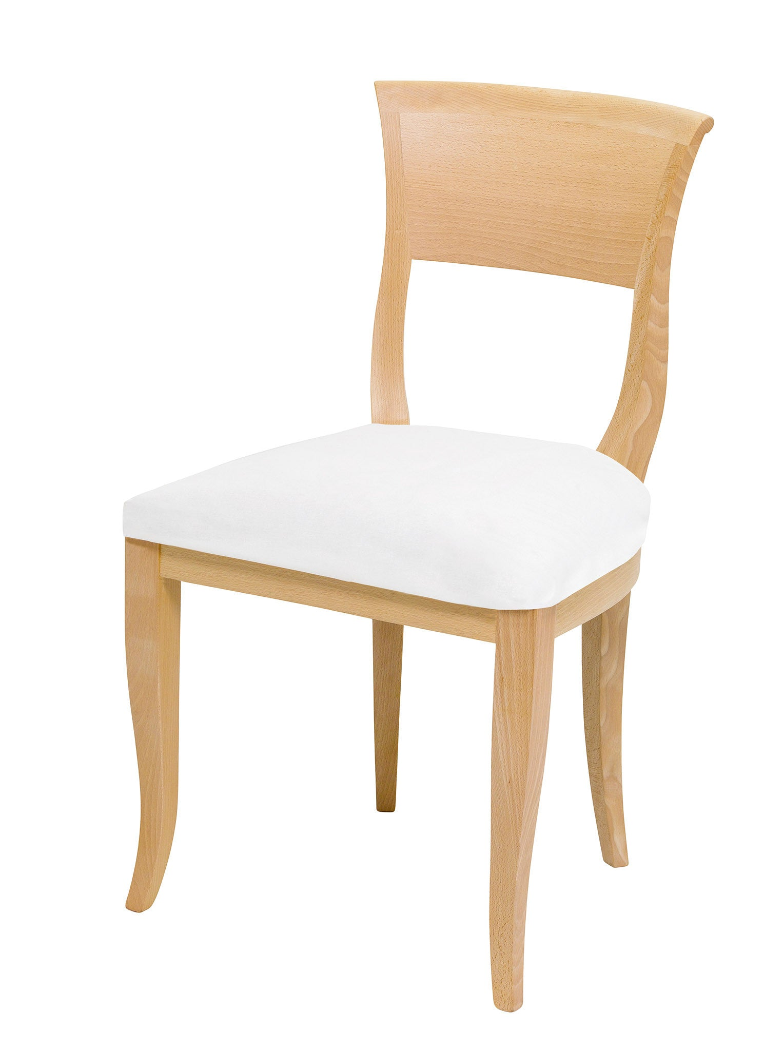 Art Deco Kate dining chair finished in natural wood with a plain upholstered seat.