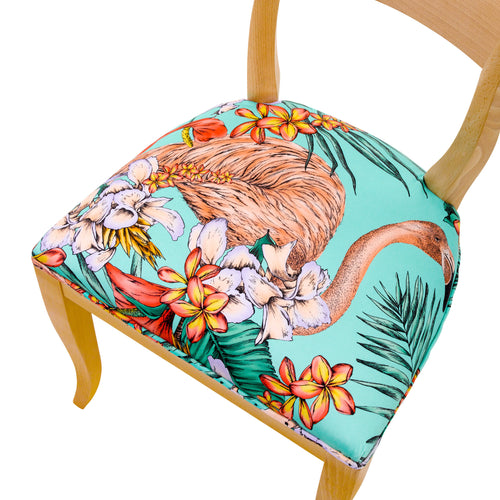Seat view of the colourful Flamingo Print by Matthew Williamson upholstered onto the Kate dining chair frame.