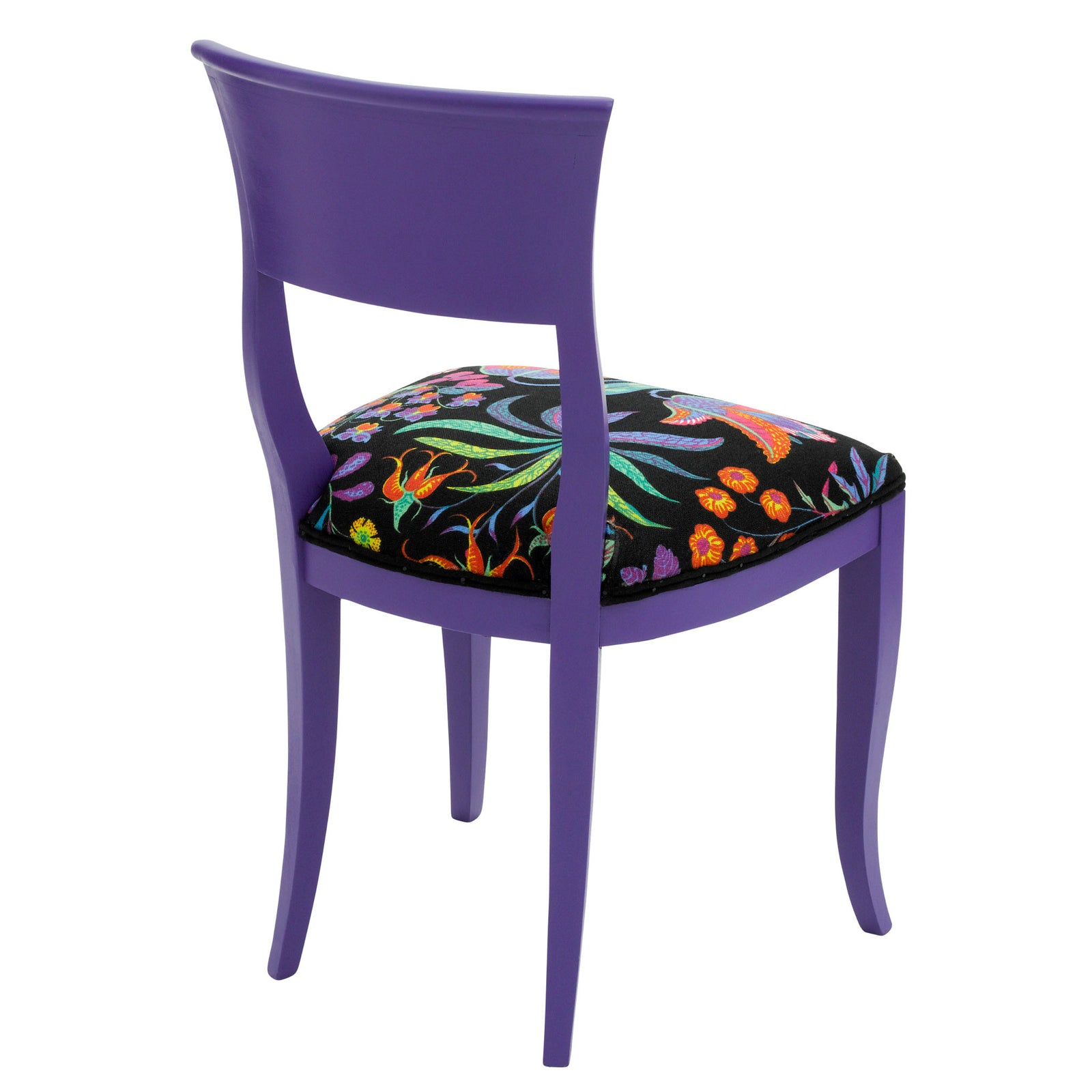 Rear view of the Kate designer dining chair upholstered in Josef Frank's Under Ekvatorn print and finished in purple heart egg shell.