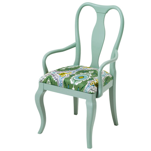 The Marco Chair Upholstered in the exotic Niyali in Nettle from Sanderson