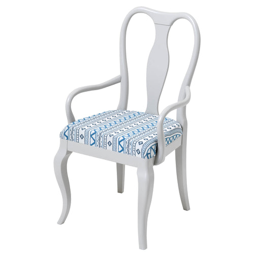 The Marco Chair Upholstered in the beautiful Andean Vertical Stripe Blue by Penny Morrison
