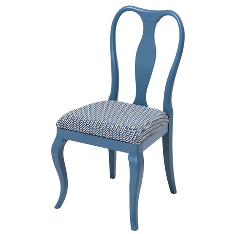 Marco Side Chair Upholstered in Cobalt Blue Luxurious Velvet, finished in Charcoal grey