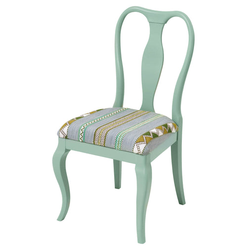 The Marco Side Chair Upholstered in the stunning Woven Ribbon by Kit Kemp