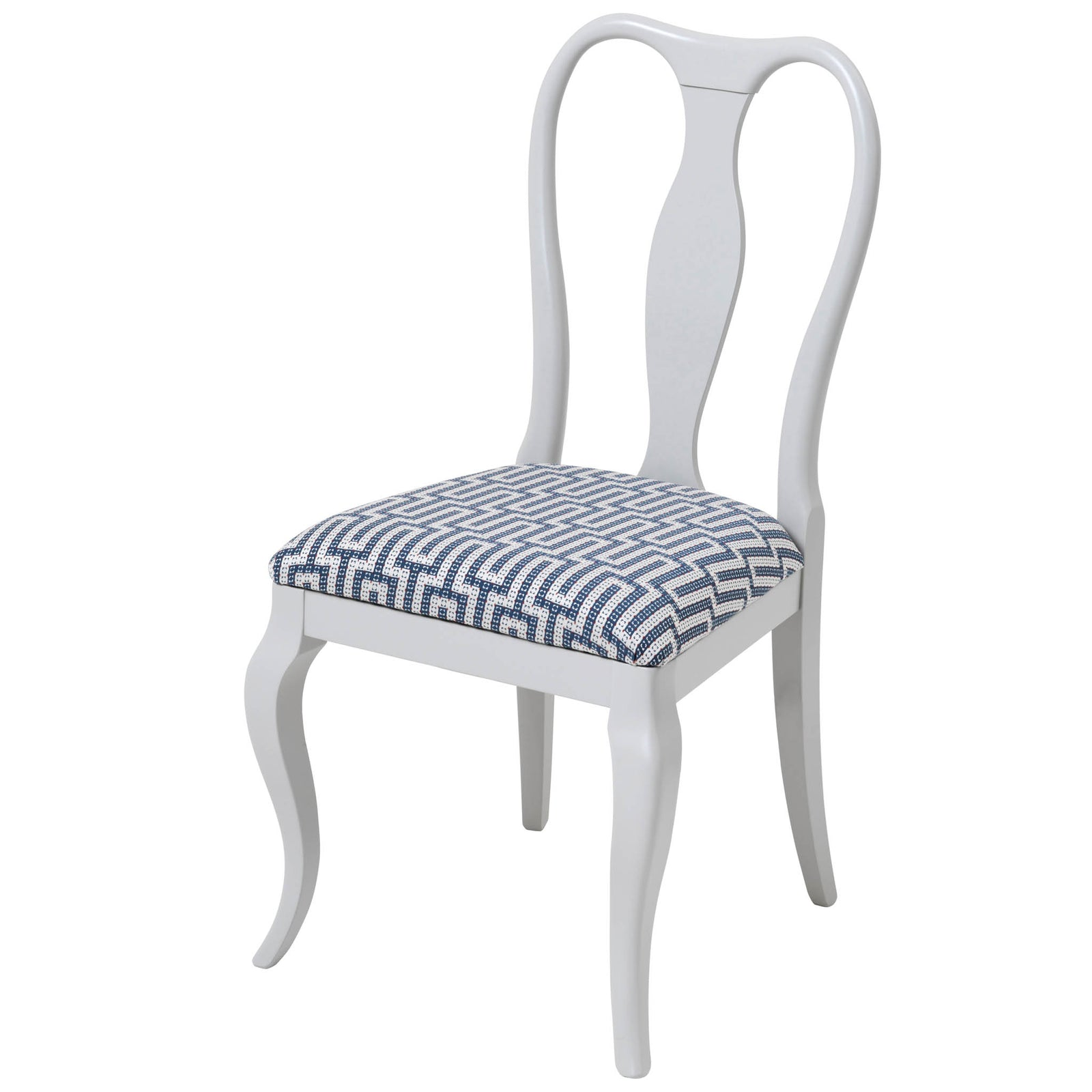 The Marco Side Chair Upholstered in the striking Linnean Weave from Sanderson