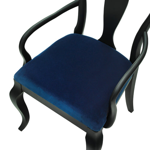 The Marco Chair Upholstered in Cobalt Blue Luxurious Velvet