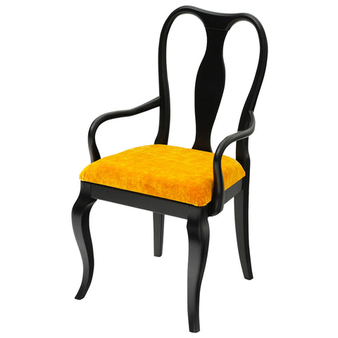 Marco Side Chair Upholstered in Keats Gold Luxurious Velvet, finished in matt black