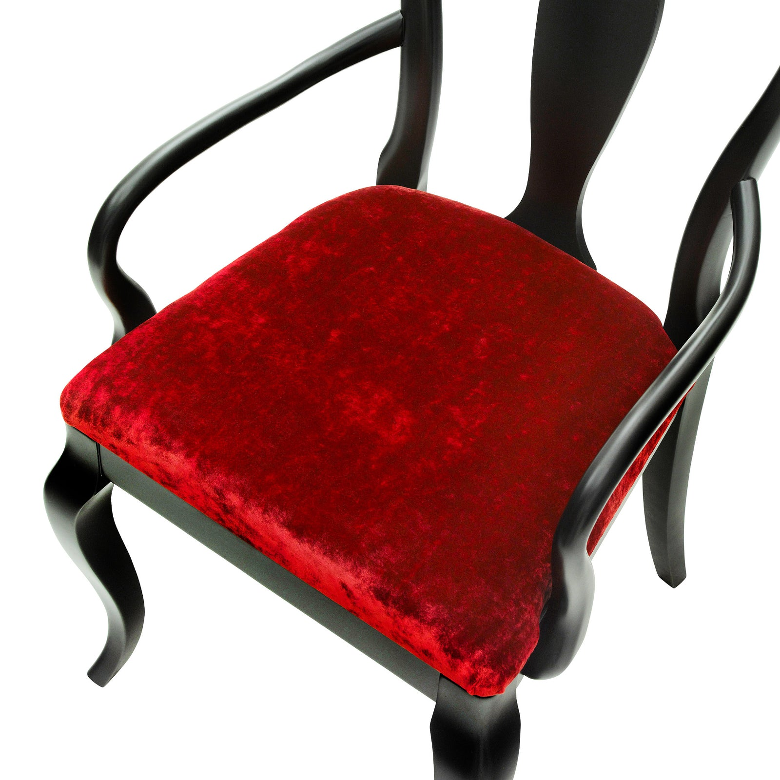 Art Deco style chairs upholstered in sumptuous red velvet
