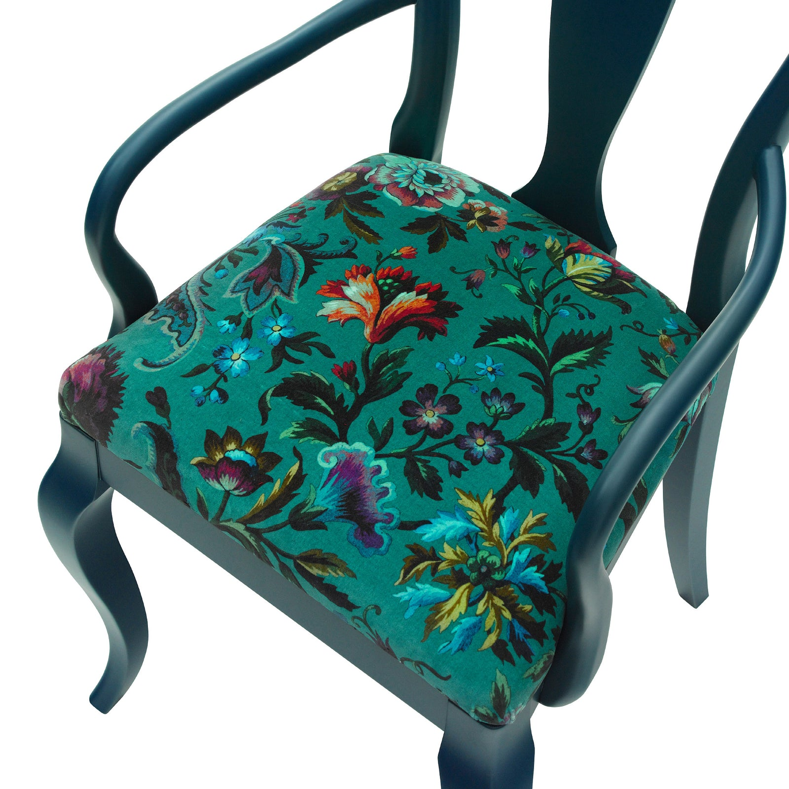 The Marco Chair Upholstered in Florika by House of Hackney finished in Hague Blue