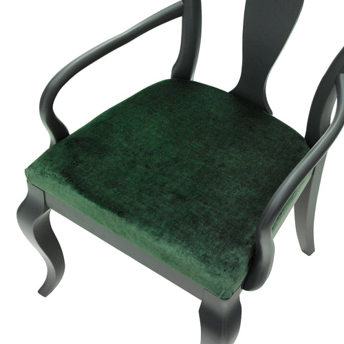 The Marco Chair Upholstered in Deep Green Luxurious Velvet