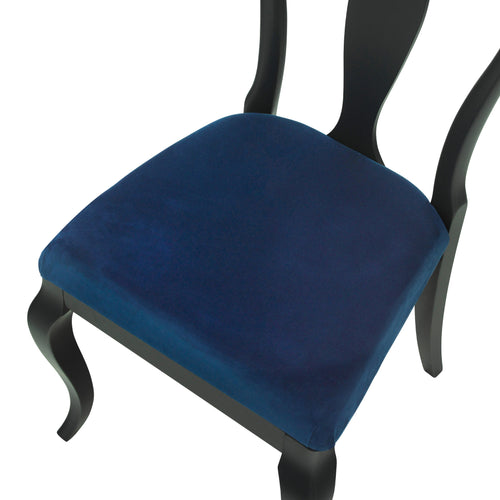 The Marco Side Chair upholstered in Cobalt Blue luxurious velvet, matt black finish