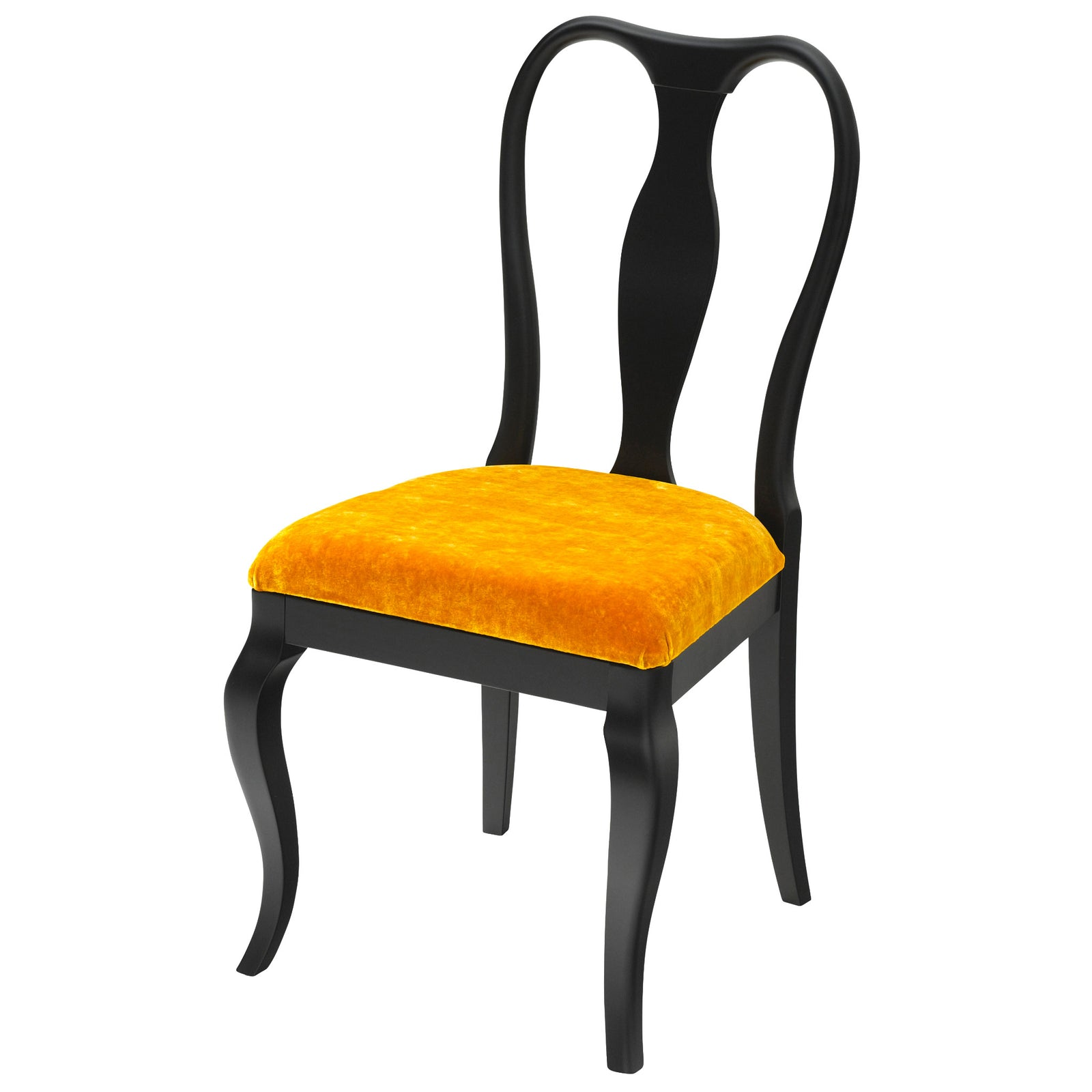 The Marco Side Chair Upholstered in Keats Gold Luxurious Velvet, matt black finish