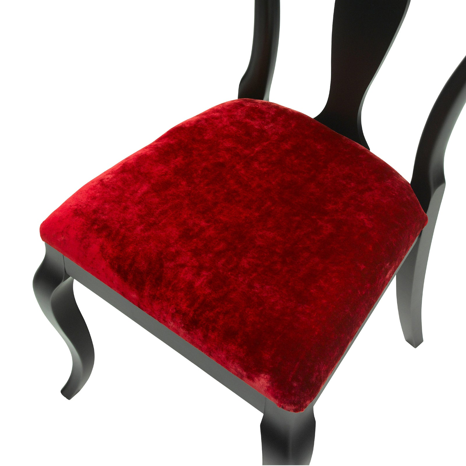 The Marco Side Chair upholstered in Keats Red luxurious velvet, matt black finish