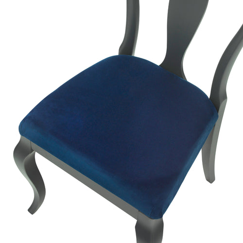 The Marco Side Chair Upholstered in Cobalt Blue Luxurious Velvet, finished in Charcoal Feist