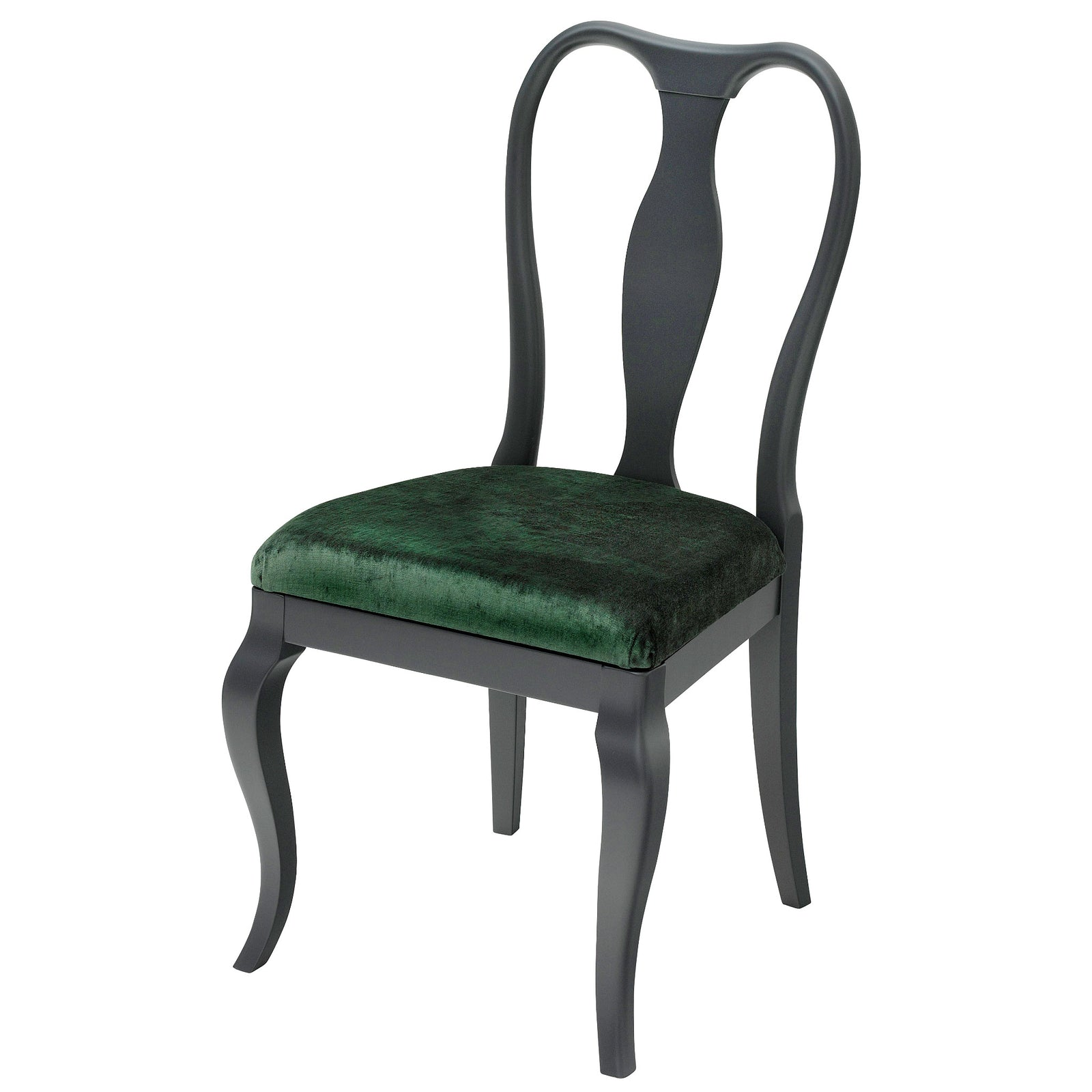 The Marco Side Chair upholstered in Deep Green luxurious velvet, finished in Charcoal Feist