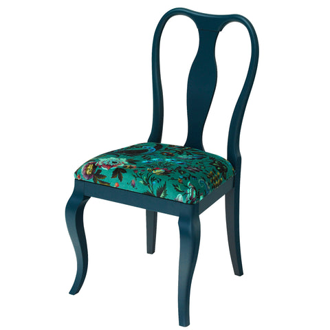 The Marco Side Chair Upholstered in the wonderful Hippie in Green from Christopher Farr Cloth