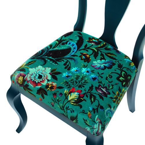 The Marco Chair Upholstered in Florika by House of Hackney, finished in Hague Blue