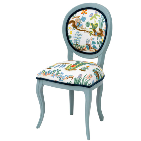 Alice Contemporary  Dining Chair Upholstered in Josef Frank Under Ekvatorn in Purple
