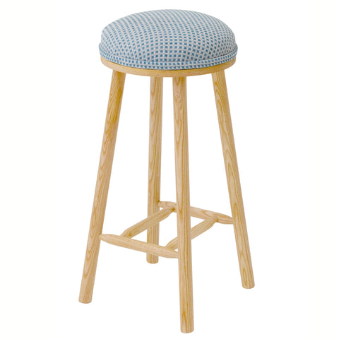 James Shaker Style Bar Stool Upholstered in Oval Blue NeoGeo By Jon Burgerman