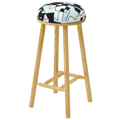The Turner Counter Stool Upholstered in Tizzy Peaks from Jon Burgerman