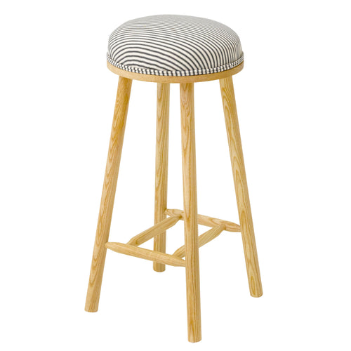 The Turner Counter Stool Upholstered in classic Ticking striped linen