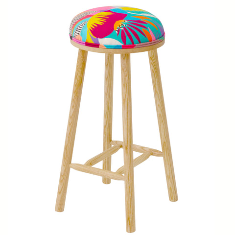 James Shaker Style Bar Stool Upholstered in Black Manaos Perroquet By Christian Lacroix