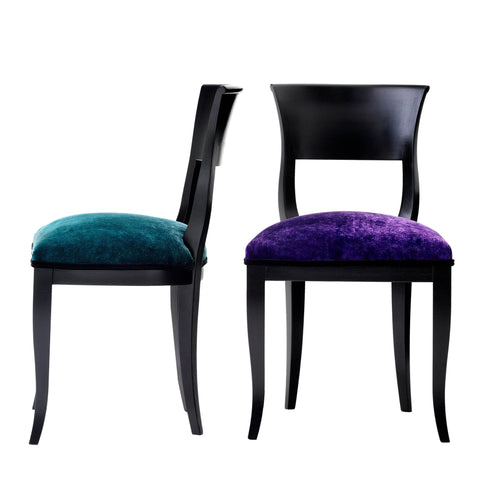 Alice Contemporary Italian Dining Chair Upholstered in Luxurious Zebra Faux Fur